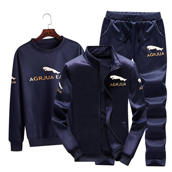 slim sport suit men 3 pieces/set polyester sportsuit 2019 new windproof gym suits keep warm sportswear run fitness tracksuit
