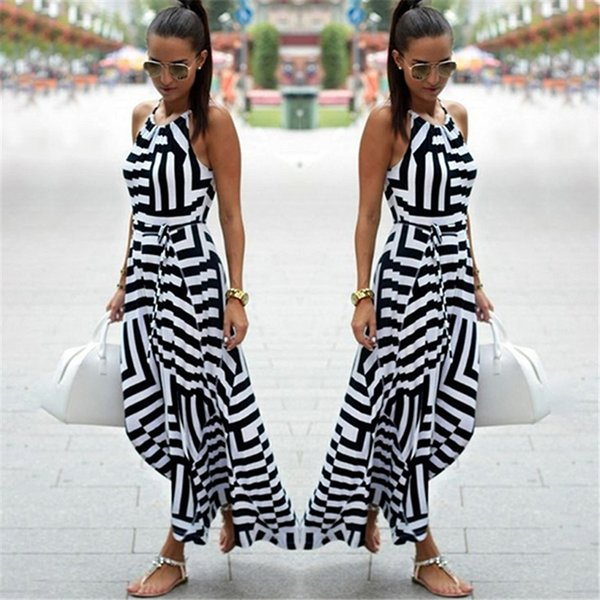 Women Sexy Summer Dress Boho Striped Sleeveless Maxi Long Dress Beach Style Strap Sundress Vestidos For Female Nq987428 designer clothes