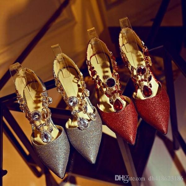 Neue Art funkelnde Kristallfrauen, die Schuh-Absatz-Brautschuhhochzeitsfest Schuhe QDX41 Wedding sind