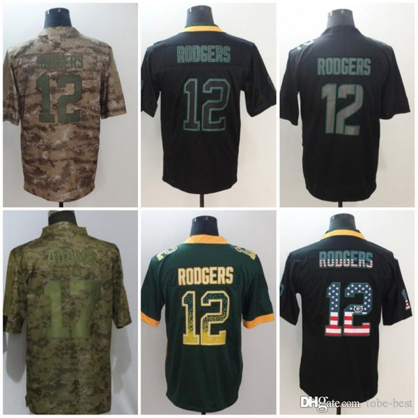 the latest 5ad09 4926e 2019 Green 12 Aaron Rodgers Jerseys 17 Davante Adams Packers 2018 Salute To  Service USA Flag Lights Out Black Rush Drift Camo Olive Limited From Tobe  ...
