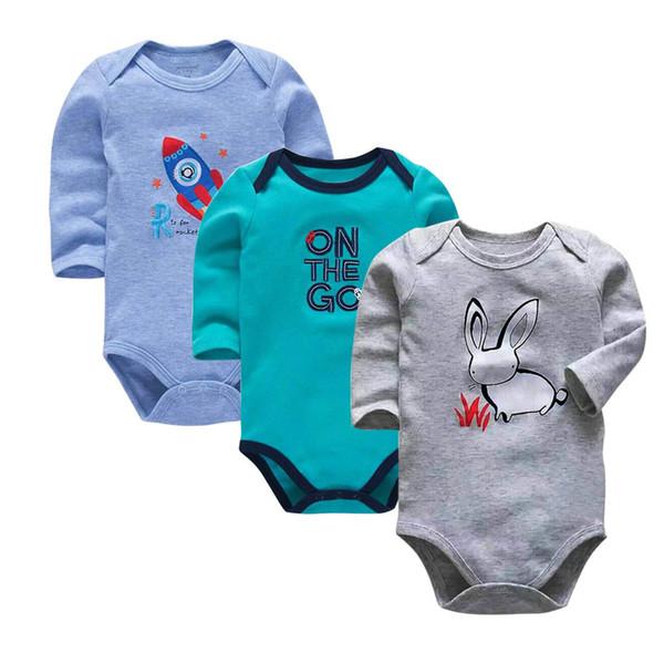 Baby Bodysuit 3pieces/lot Autumn Newborn 100% Cotton Body Baby Long Sleeve Underwear Infant Boy Girl Pajamas Clothing Y19050602