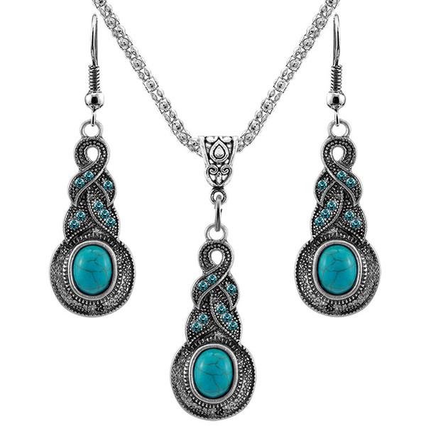 Collar colgante turquesa vintage Cuelga los pendientes de gota Set para mujer Retro Natural piedra 2019 Joyería de moda a granel