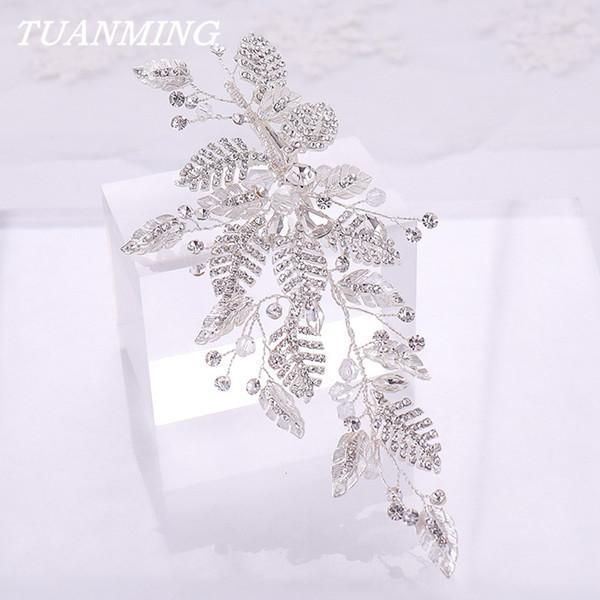 Silver Rhinestone Leaf Hair Clips For Women Crystal Bridal Headpieces Hairpins Hair Accessories For Women Wedding Hairgrips