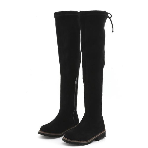 2018 Winter Children Brand Flock High Boot Kid Fashion Warm Over-the-Knee Boot Baby Girl Toddler Black Shoe C1137