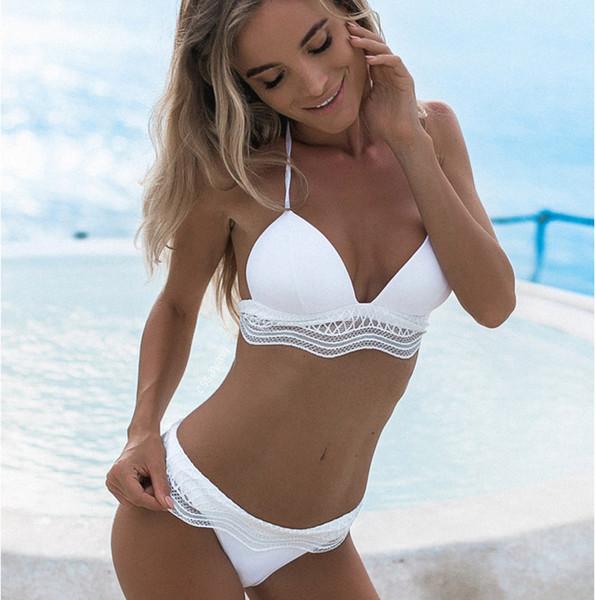 Bañador de traje de baño para mujer Traje de baño bikini para mujer Traje de baño Traje de baño Conjuntos de mujeres Bikini de encaje para mujer Traje de baño sexy Correas blancas
