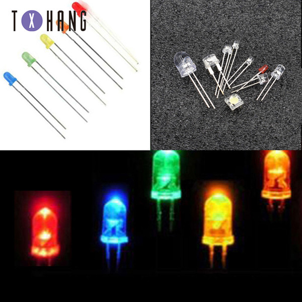 100 / 1000PCS rond 3mm rouge / bleu / vert / jaune / orange DIFFUS F3 LED Diodes ampoule coloré