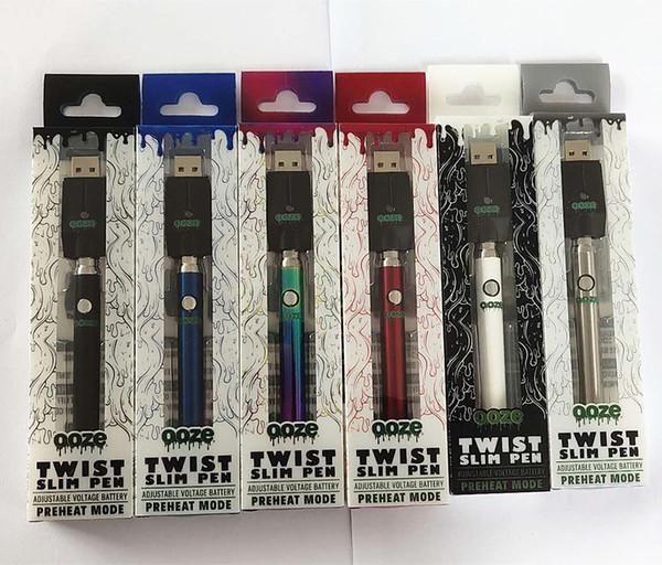 Vape OOZE Twist 380mAh Vorheizen des Akkuladegeräts mit variabler Spannung 510 Gewinde Vape Pen 6 Farben für Patronen DHL-frei
