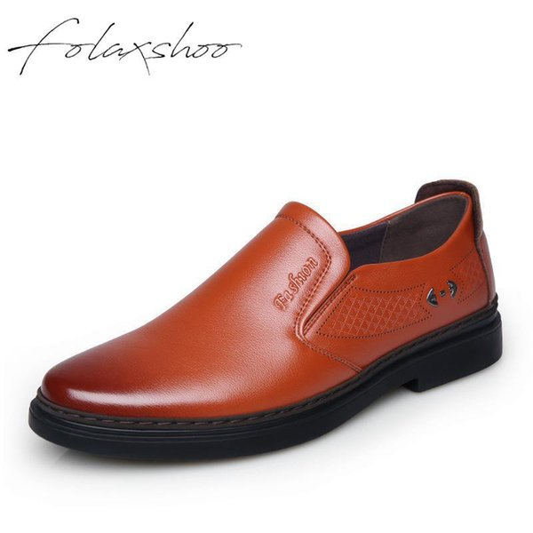 Folaxshoo Leather Shoes Men Slip-on Loafers Mens Shoes Casual Breathable Leather Loafers Casual Walking Driver Male