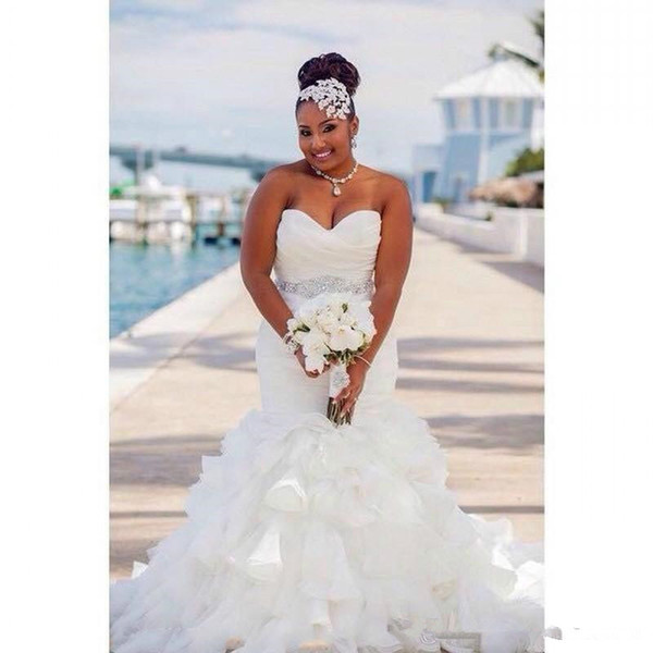 2019 Gorgeous Ruffle Organza Mermaid Plus Size Wedding Dresses Africa Tiers Beads Sash african Country Bridal Gown Train Bride Dress Cheap
