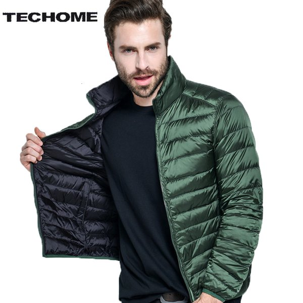 Sided wear 88% Down Content Winter White Duck Down Jacket Men Thin Ultra Light Winter Long Sleeve Winter Down Coat Plus Size 4XL SH190927