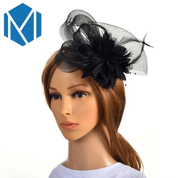 Ribbon /& Feather Women Fascinator Cocktail Veiling Headband Wedding Party Races