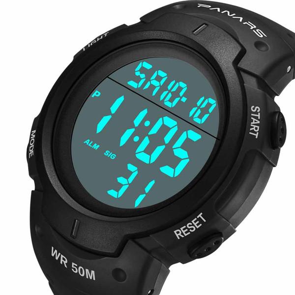 Relojes deportivos 50M Impermeable Hombres LED Reloj de pulsera digital Función Montañismo Relojes electrónicos de los hombres luminosos a prueba de agua