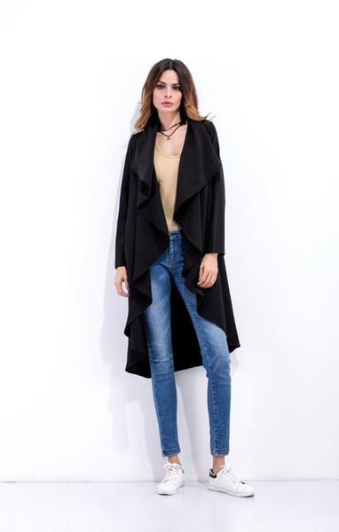 Primavera Trench Coat Womens Solto Plus Size Comprimento Assimétrico Trenca Mujer Moda Breve Cardigan Coats Mulheres Preto / Trench Apricot