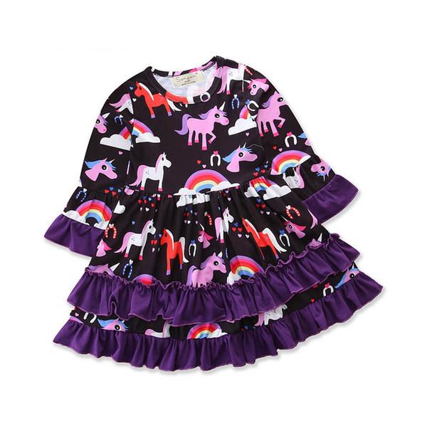 INS Cadılar Bayramı bebek kız elbise gökkuşağı Unicorn kızlar elbiseler uzun kollu bebek elbise bebek kız giysi tasarımcısı çocu ...