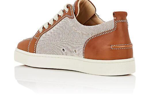 Fábrica al por mayor de cuero granulado clásico Rantulow zapatillas de deporte de cuero planas zapatos inferiores rojos Junior Lowcut zapatos para hombre suela roja envío gratis t7