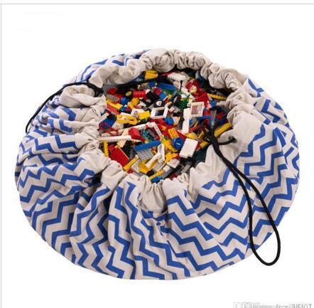 140 CM Anne Bakım Donanma Dalga Çanta Bebek Kese Oyna Çocuklar oyun Mat Battaniye Tuval Oyuncaklar Saklama Çantası Mumya Opbergtas Seyahat Yuvarlak Halı Zak