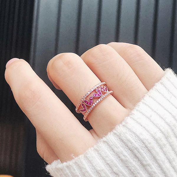 Fresco Rose Red Diamante Oca Amor Anel de Abertura Ampla Versão Micro-inlay Zircon em forma de Coração Anel de Cauda Casal