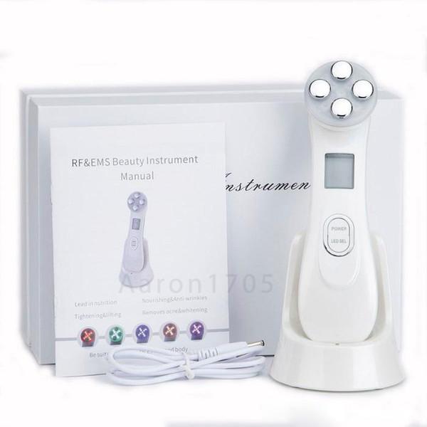 Cara Piel EMS Mesoterapia Electroporación RF Radiofrecuencia Facial LED Fotón Dispositivo para el cuidado de la piel Estiramiento facial Apriete la máquina de belleza
