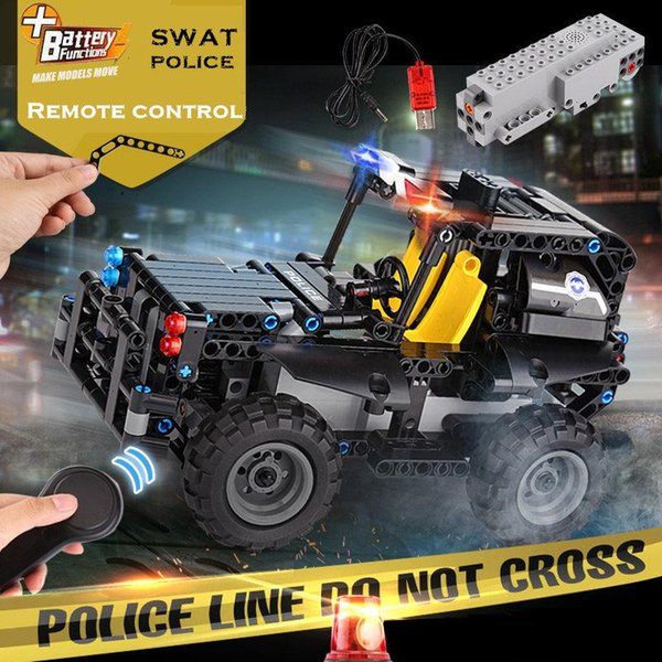 13005 13006 13007 13008 Remote Control RC SWAT Police Armed Patrol Car Command vehicle Personnel carriers Electric USB Building Blocks gift