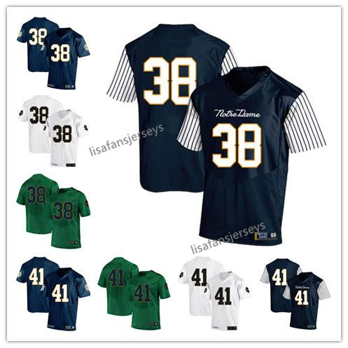 Mens Notre Dame Fighting Irish Jerseys 38 Deon McIntosh 41 Matthias Farley 2019 Navy White Green USA Flag College Football NCAA Jersey