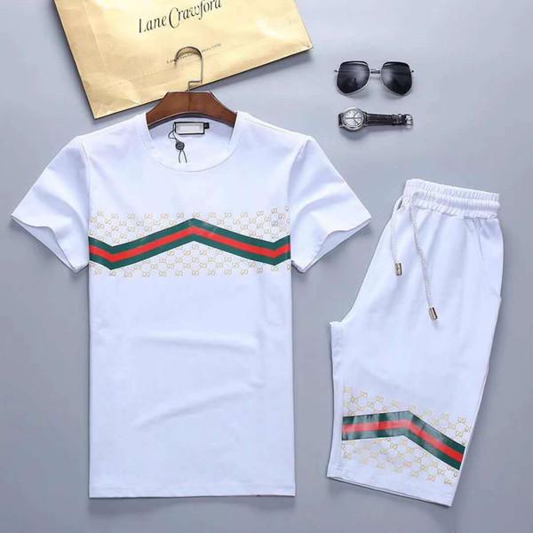 19ss Brand Designer Sweatshirt Men Short Sleeve Running Tracksuits Men Fashion Hip hop Bees Floral Print Medusa sweat track suits