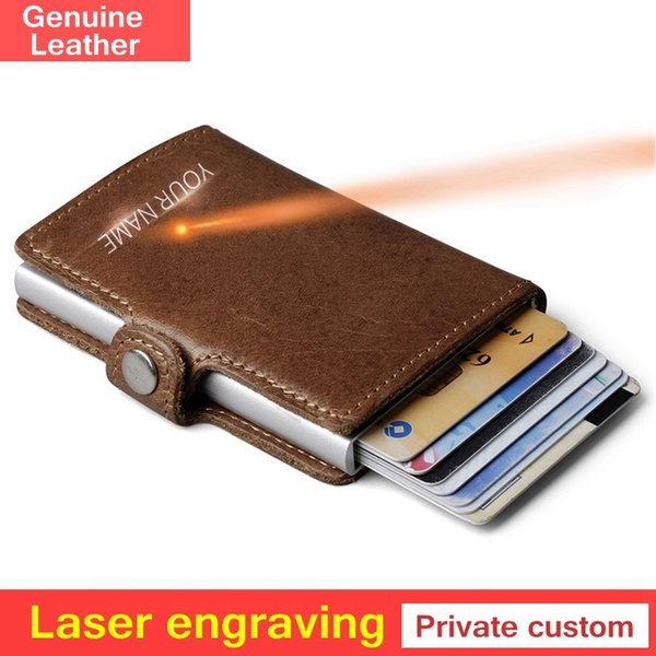 Private customize Genuine Leather Men Aluminum Wallet Pocket  Blocking Mini Automatic  Purse gift