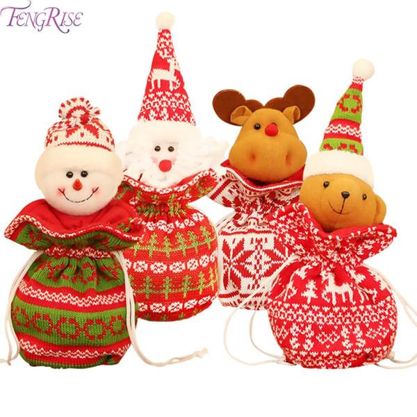 FENGRISE трикотажа Рождество конфеты мешок Рождественский подарок сумки 2019 Crismas сумка украшения рождественских подарков счастливого Нового 2020 года