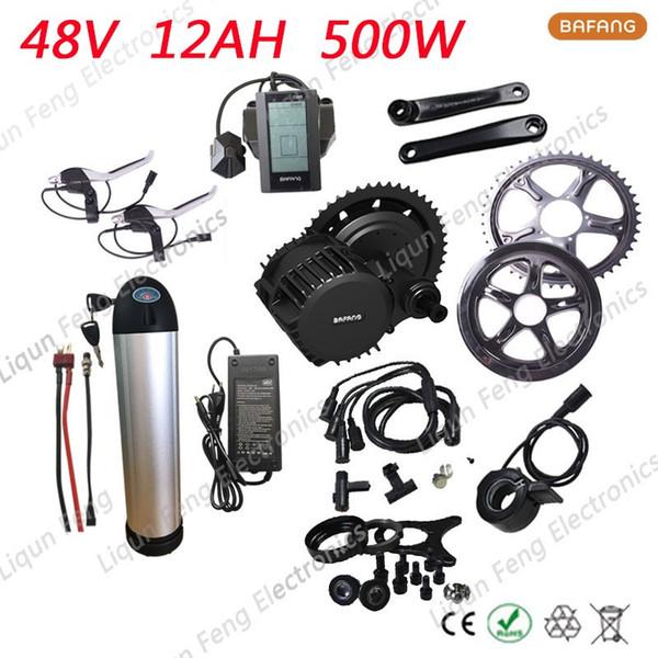 E-bicycle kit 8fun/bafang 48V 500W Motor Wheel BBS02 Octopus Neutral Motor+48V 12AH E-bike Lithium ion Battery