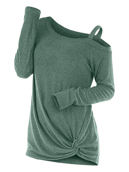 Wipalo Fashion Spring Knotted Skew Neck Sweater Long Sleeve Cut Out Solid Pullover Sweater Women Clothes One Shoulder Casual Top #409180