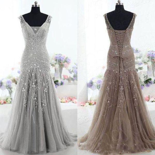 2019 Hohe Qualität Silber Abendkleider Drop Taille V-Ausschnitt Perlen Pailletten Abendkleider Meerjungfrau Luxus Mutter der Braut Kleid