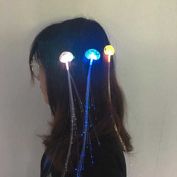Led Party Wedding Decoration Colorido LED Clip para el cabello Emisor de luz Cable de fibra óptica Horquilla Luminoso Trenzas de seda Herramienta de diseño