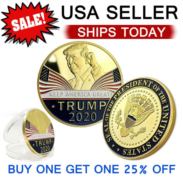 best selling Keep America Great 2020 Donald Trump Commemorative Coin American President Gold Coins Silver Badge Metal Craft Collection Republican