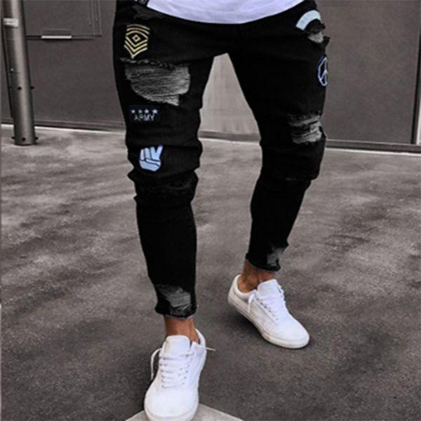 Nouveau mode hommes trou broderie jeans hip-hop slim hommes jeans Style de rue 2019