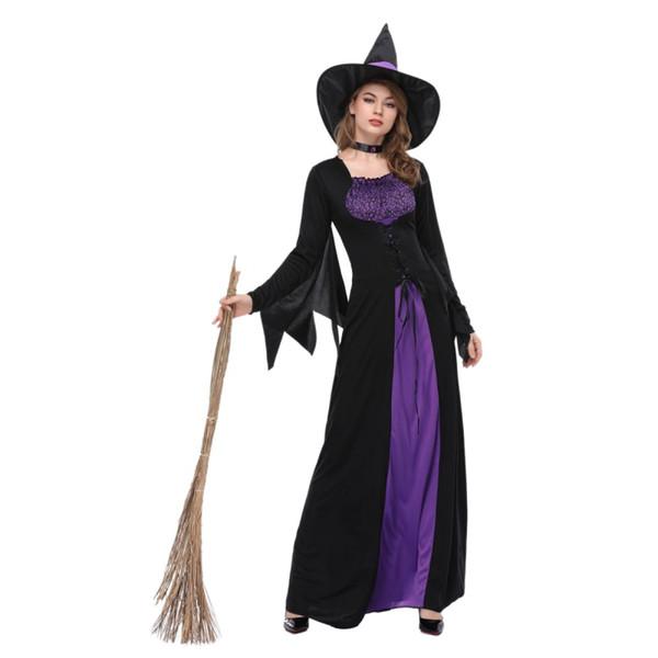 Femmes sorcière noire Costume Reine impénétrable Adulte Halloween Carnaval Soirée Cosplay Déguisement
