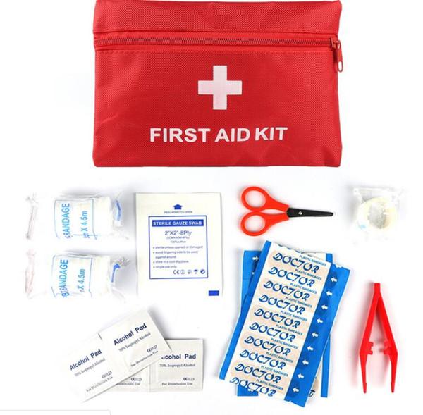 Precision New First Aid Überleben Wrap Gear Hunt Camp Notfallmedizin Kits Paket Außentaschen Rot 20 * 14 cm 13 Stück Anzug Pflaster Gaze