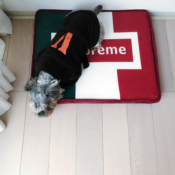Письмо Printed Pet Bed Soft Contrast Color Dog Kennel Teddy Сон Теплый мягкий кровать Щенок Cat Мат Pad Дом и сад для собак