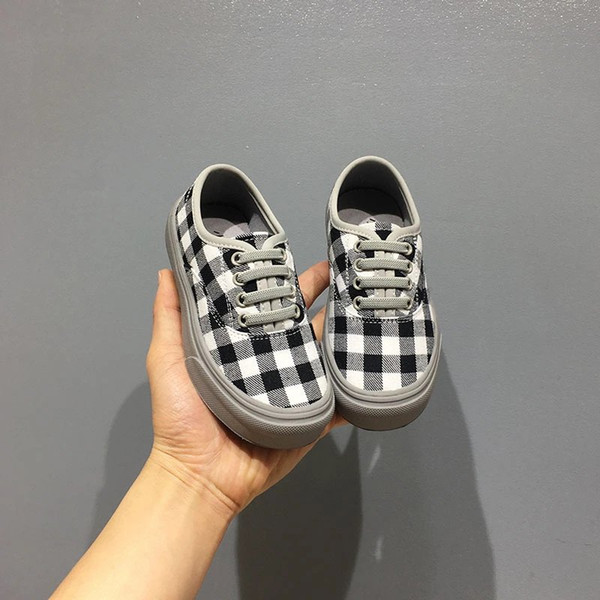 Kid plaid Canvas shoes black and red color baby boy girl korean style flat shoes sneaker EU 26-37 high quality