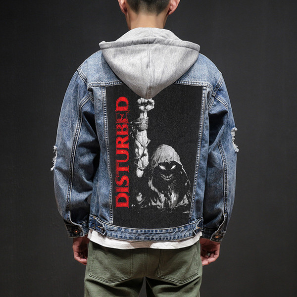 Bloodhoof Store Disturbed Rock and Roll Death Heavy Hardcore Estilo punk Diseños de parche Denim Jeans para hombre Chaquetas y abrigos