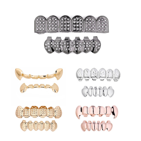 Metal Copper Tooth Grills Gold Color Crystal Dental Grillz Top Bottom Hiphop Teeth Caps Body Jewelry for Women Men Fashion Teeth Grillz