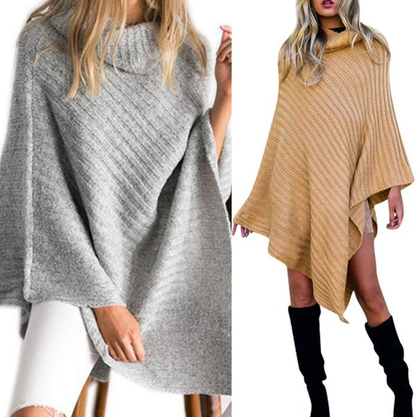 2019 New Fashion Design Style Scarf Women High Collar Poncho For Female Cotton Knitted Scraves Irregular Warm Winter Shawl Capes