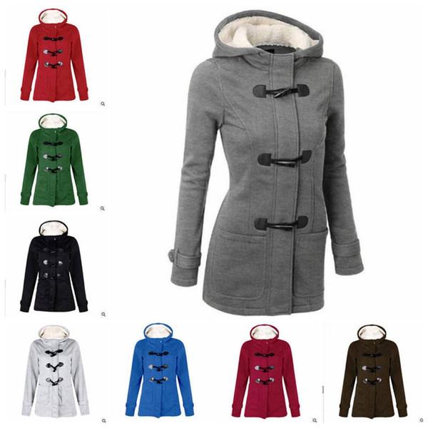 Kadınlar Kış Palto Korna Düğmesi Hırka Kapüşonlu Ceket Uzun Kollu Dış Giyim Moda Rahat Kalın Jumper Ceket Pamuk-yastıklı giysi YL894