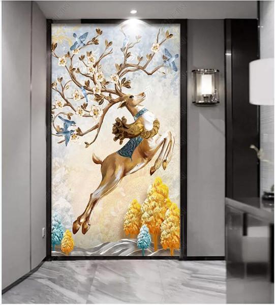 WDBH 3d фото обои на стену на заказ роспись европейский тисненое богатое дерево лось крыльцо домашний декор комнаты обои для стен 3 д