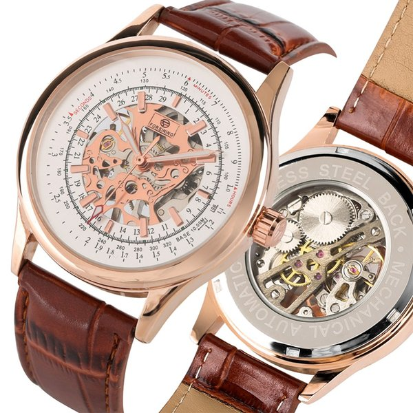 Business Skeleton Hand-wind Mechanical Watches for Man Stainless Steel Leather Strap Mechanical Watch for Teen Mens Gift Watch