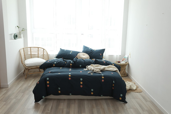 Lucky King Navy Blue Cotton Three-Piece Set Colorful Florals Pattern Duvet Cover Set Natural Ultra Soft Home for Adults Room Bed Sheet Sets