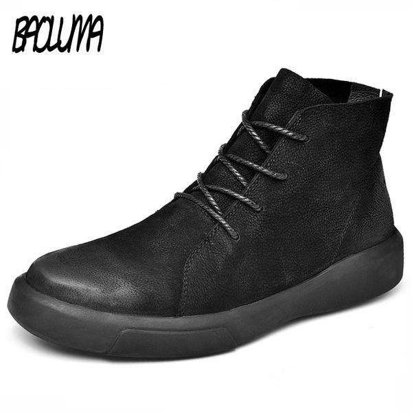 Cuir véritable hommes bottes automne hiver avec fourrure bottes de neige chaudes hommes bottes d'hiver chaussures de travail hommes chaussures caoutchouc cheville chaussures