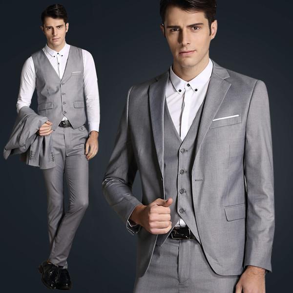 2019 New light grey men 3 piece suits mens satin suit Custom made Plus size Wedding Suits for men suit slim fit terno masculino