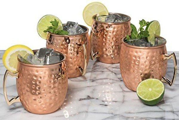 4pcs Free Shipping 550ml 18 Ounces Hammered Copper Plated Moscow Mule Mug Beer Cup Coffee Cup Mug Copper Plated Drinkware C19041302
