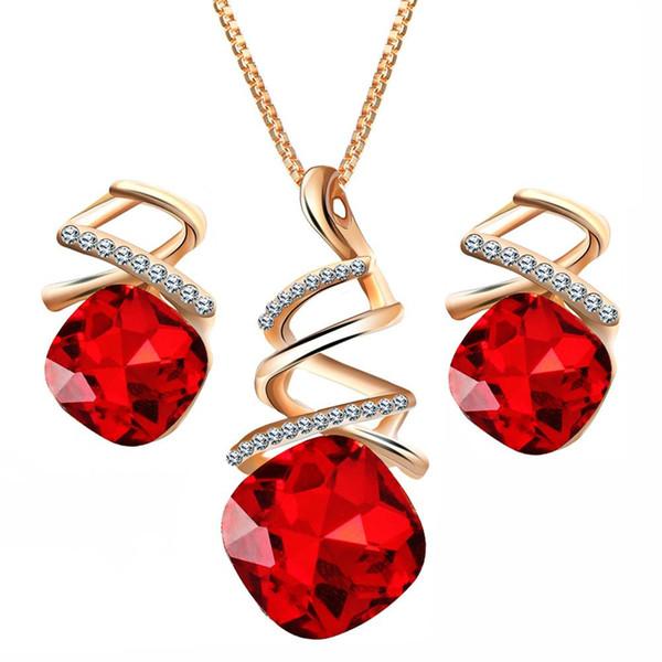 Partie de mariage spirale carré strass collier boucles d'oreille bijoux de mariée ensemble New Hot