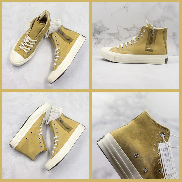 2019 New Convase ADD 클래식 옐로우 캐주얼 트레이너 높은 컷 지퍼 레이스 업 디자인 스포츠 스니커즈 남성 여성 Vibram PORON Shoes