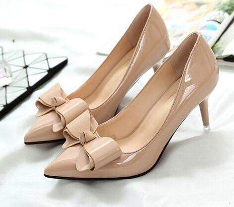 Designer Dress Shoes Han edition shallow single female nude pink 5 cm with fine with big bowknot pointed the bride